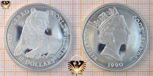 10 Dollars, 1990, Cook Islands, World Wildlife, Tiger