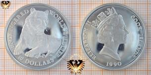 10 Dollars, 1990, Cook Islands, World Wildlife,  Vorschaubild