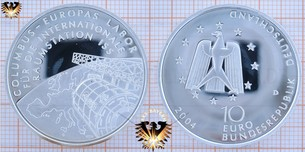 10 €, BRD, 2004 D, Raumstation ISS - Info`s, Numisblatt und vieles mehr zur Gedenkmünze