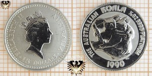 15 AUD, 15 Dollars, 1990, Australien, Koala, 1/10 oz. Platin