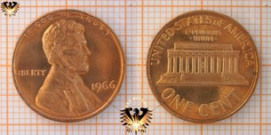 1 Cent, USA, 1966, Lincoln Memorial Cent,  Vorschaubild