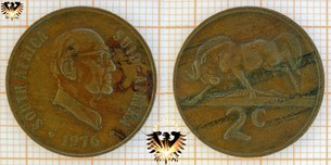 2 Cents, South Africa, 1976, Suid Afrika,  Vorschaubild