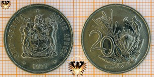20 Cents, Suid Afrika, 1971, South Africa,  Vorschaubild
