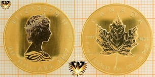 20 Dollars 1987, Maple Leaf Münze, 1/2 unze Gold