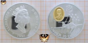 1997, Canada, 20 Dollars, Silbermünze, Elizabeth II, Snowbirds, Queen, Flugzeug  CT-114