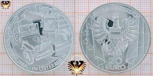 20 Euro, Österreich, 2003, ERP Marshall-Plan, Silbermünze,