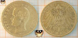 20 Mark Bayern, 1895 D, Otto Koenig von Bayern, Goldmünze