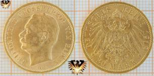 20 Mark Baden, 1912 G, Münze Friedrich 2, Deutsches Kaiserreich , Goldmünze