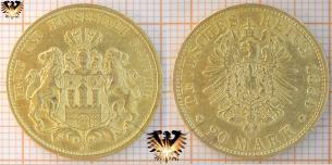 20 Mark Goldmünze, Hamburg freie Hansestadt, 1884, Wert Doppelkrone,