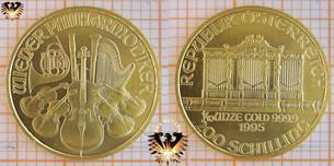 200 Schilling, Österreich, 1995, Wiener Philharmoniker, 1/10 Unze Goldmünze
