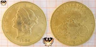 $20 Dollars, Liberty, USA, 1904, Double Eagle, Gold