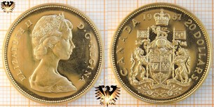 20 Dollars, 1967, Canada, Elizabeth II D.G. Regina, Centennial independenc of Canada, Gold