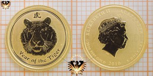 5 AUD, 5 Dollars, 2010, Australia Year of the Tiger, 1-20-oz