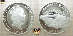 Panzerkrokodil, 5 Dollars, 1996, Cook Inseln, Gefährdete  Vorschaubild