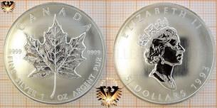 Bullionmünze: CAN, 5 Dollars, 1993, Canada, Maple  Vorschaubild