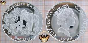 5 Dollars, 1996 Cook Islands, Endangered World Wildlife, Gorilla