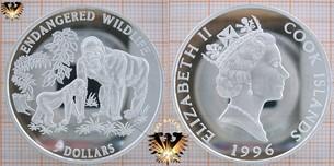 5 Dollars, 1996 Cook Islands, Endangered World  Vorschaubild