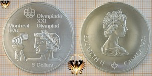 5 Dollars, Canada, 1974, Elizabeth II, XXI Olympiad Montréal 1976, Series II, Athlete with torch,