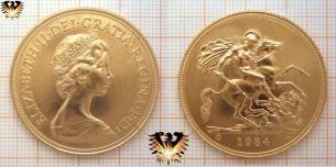£ 5 pound, Sovereign, 1984, BU,  ELIZABETH II DEI GRATIA REGINA F: D: