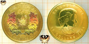 50 Canada Dollar, 2004, Maple Leaf Farbmünze, 1 Unze Gold, echter Diamant