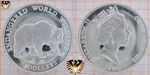 50 Dollars, 1990, Cook Islands, Endangered World Wildlife, Grizzly Bear