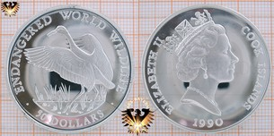 50 Dollars, 1990, Cook Islands, Endangered World Wildlife, Whooping Crane