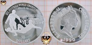 50 Dollars, 1990, Cook Islands, XIV Football  Vorschaubild