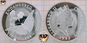 50 Dollars, 1992, Cook Islands, Endangered World Wildlife, Schmetterling Distel