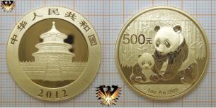 1 Unze, 500 Yuan, Gold Panda 2012, China, Bullionmünze Gold
