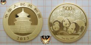 2013: 1 oz. Goldpanda 2013, 500 Yuan, China, 1 Unze Feingold, Anlagemünze
