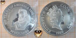 50 Dollars, 1989, Cook Islands, 500 Years  Vorschaubild