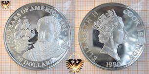 50 Dollars, 1990, Cook Islands, 500 Years  Vorschaubild