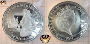 50 Dollars, 1990, Cook Islands, 500 Years  Vorschaubild
