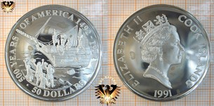 50 Dollars, 1991, Cook Islands, 500 Years  Vorschaubild