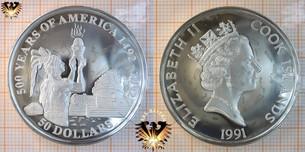 50 Dollars, 1991, Cook Islands, 500 Years  Vorschaubild