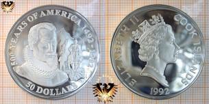 50 Dollars, 1992, Cook Islands, 500 Years  Vorschaubild