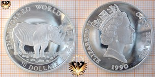 50 Dollars, 1992, Cook Islands, World Wildlife, Nashorn