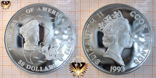50 Dollars, 1993, Cook Islands, 500 Years  Vorschaubild
