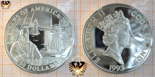 50 Dollars, 1993, Cook Islands, 500 Years  Vorschaubild