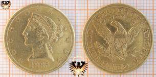 $5 Dollars, USA, 1885, Liberty, Coronet Head, Half Eagle