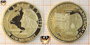 $5 Dollars, USA, 1992 W, Christopher Columbus, 500 years, Quincentenary, Half Eagle, 1492-1992 Gold