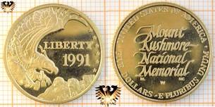 $5 Dollars, USA, 1991 W, Mount Rushmore, 50th Anniversary, Half Eagle, Gold