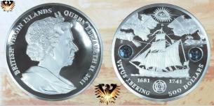 5 kg, Vitus J. Bering,  500 Dollars, British Virgin Islands, Silbermünze