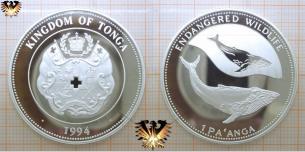 Buckelwale, 1 Pa'anga, 1994, Tonga, Gefährdete Tierwelt,  Vorschaubild