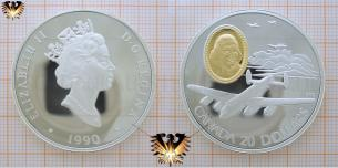 Silbermünze, Canada, 20 Dollars, 1990, Queen, Flugzeug, Lancaster