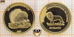 Congo, 20 Francs, 2003, Les Animaux D  Vorschaubild