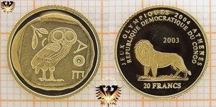 Congo, 20 Francs, 2003, Olympische Sommerspiele Athen