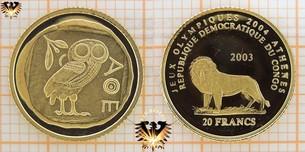 Congo, 20 Francs, 2003, Olympische Sommerspiele  Vorschaubild