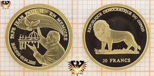 Congo, 20 Francs, 2005, Pape Jean Paul  Vorschaubild
