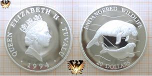Dugong, 20 Dollars, 1994, Tuvalu, gefährdete Tierwelt,  Vorschaubild